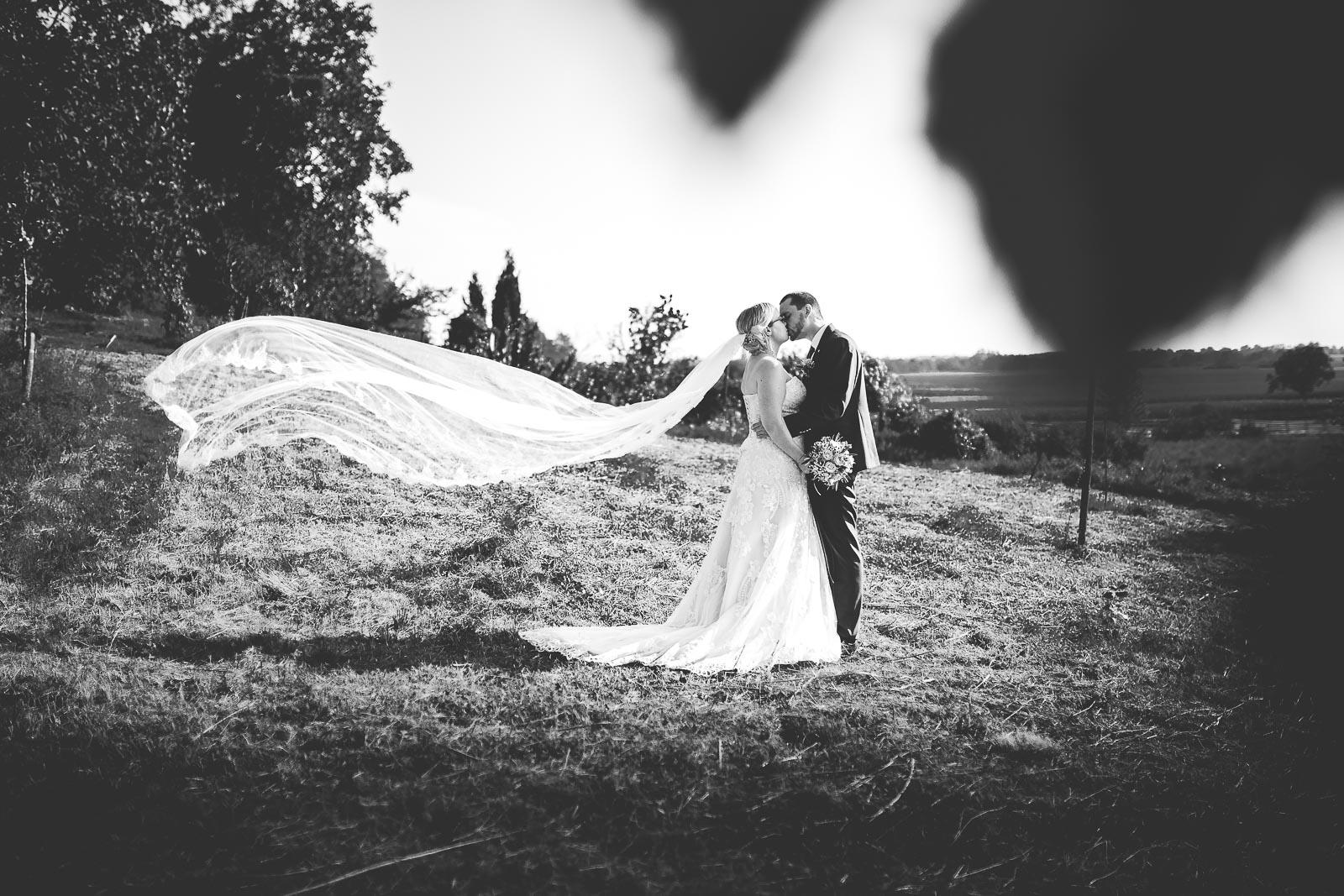 Hochzeitsfotograf Dominik Sackmann - lichtwerk Foto Video Grafik - Freiburg, Kirchzarten, Dreisamtal - Brautkleid Kuss Dynamik